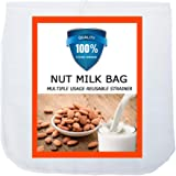 "Carrollar Nut Milk Bag, Pro Quality Multiple Usage Reusable Food Strainer, Cold Brew Coffee Bag Cheese Cloth, Ultra Fine Nylon Mesh Food Grade BPA-Free for Almond/Soy Milk, Juice, Coffee, Tea, 12""x12"""
