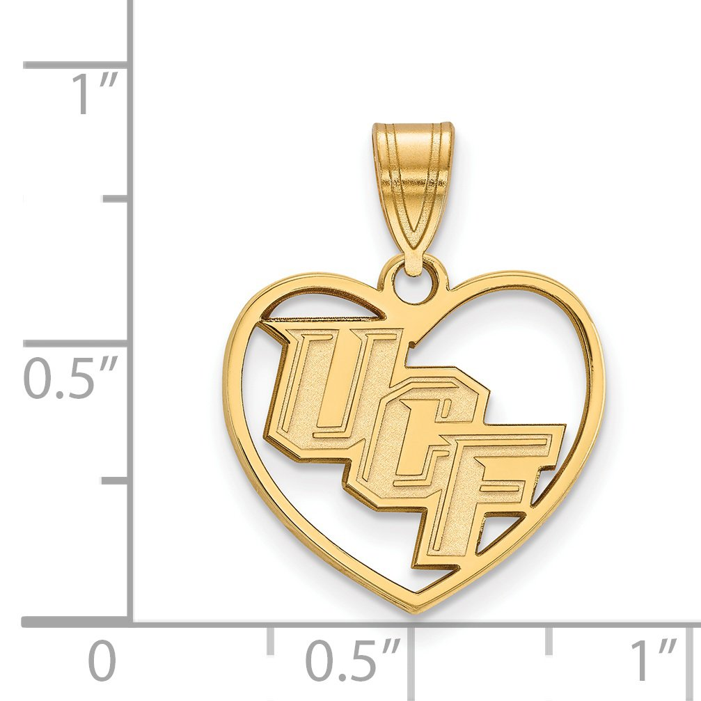 University of Central Florida Knights UCF School Letters Inside Heart Pendant in Gold Plated Silver 15x17mm