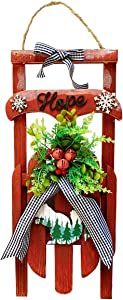 "YUMBOR Christmas Red Vintage Wooden Hanging Sled Tabletop Wall Decor Merry Christmas Holiday Decor Jute Rope Santa Claus Sled Indoor Outdoor Christmas Centerpiece Decoration (16.5"" H)"