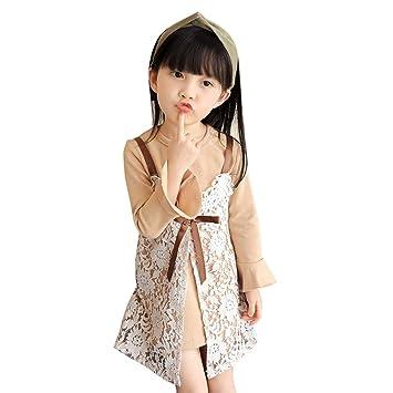 fa03550c2 Kolylong Kids Girls Lace Dress Summer Sweet Outfits T-shirt Tops+Bowknot Lace  Dress Clothes Sets (5Y