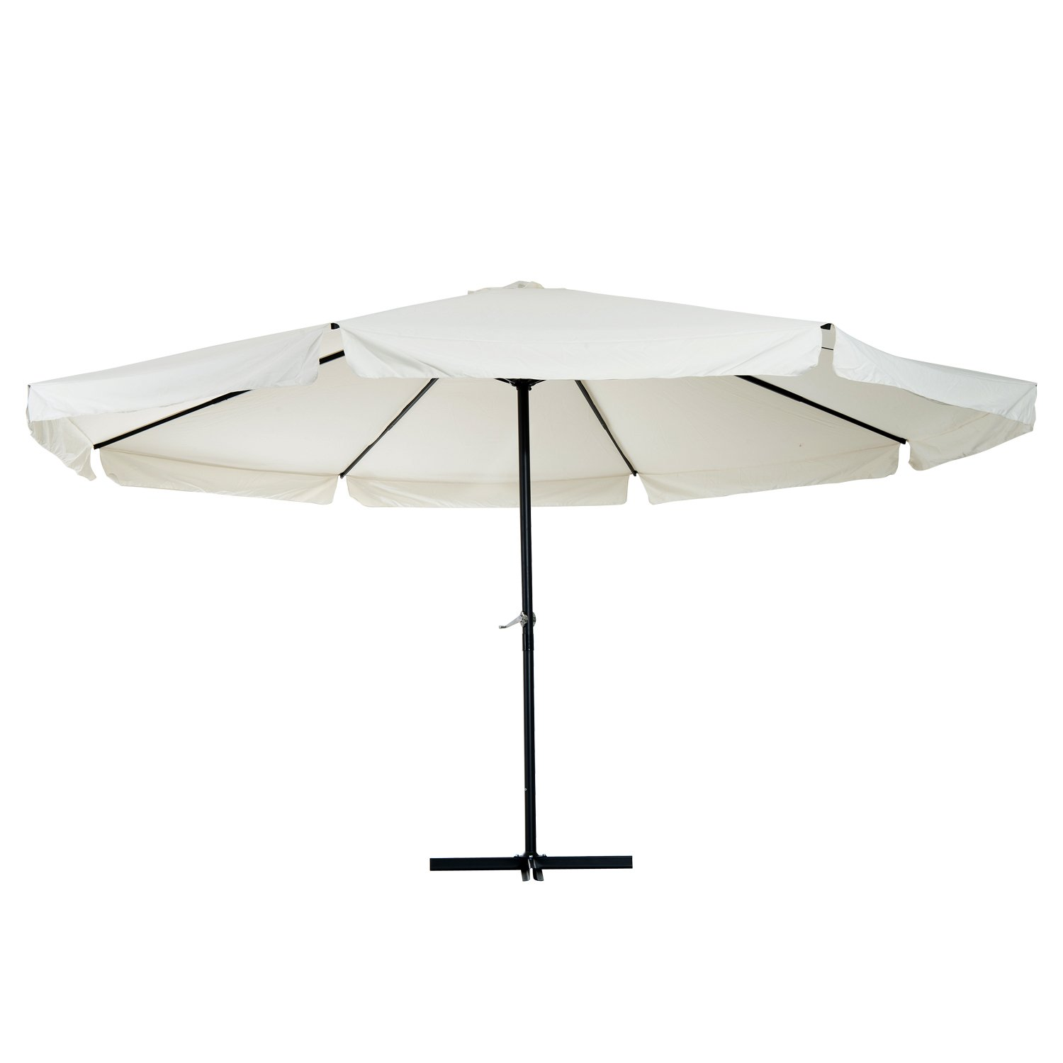 Outsunny 16' Oversize Aluminum Outdoor Patio Umbrella with Cross Base (Cream White) B0796RZGMZ
