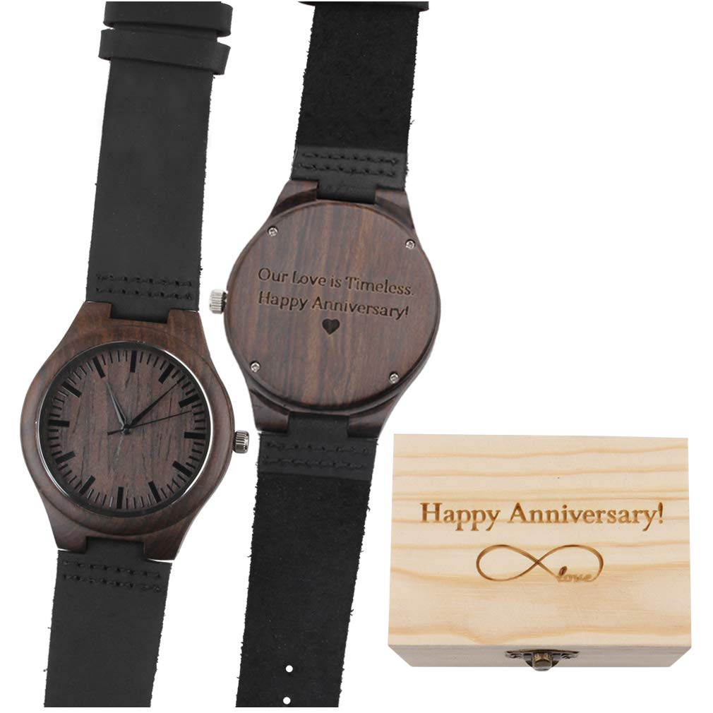 Our Love is Timeless. Happy Anniversary! - Black Leather Strap Quartz Movement Men's Watch Wood Unique Wedding Anniversary Gifts for Men