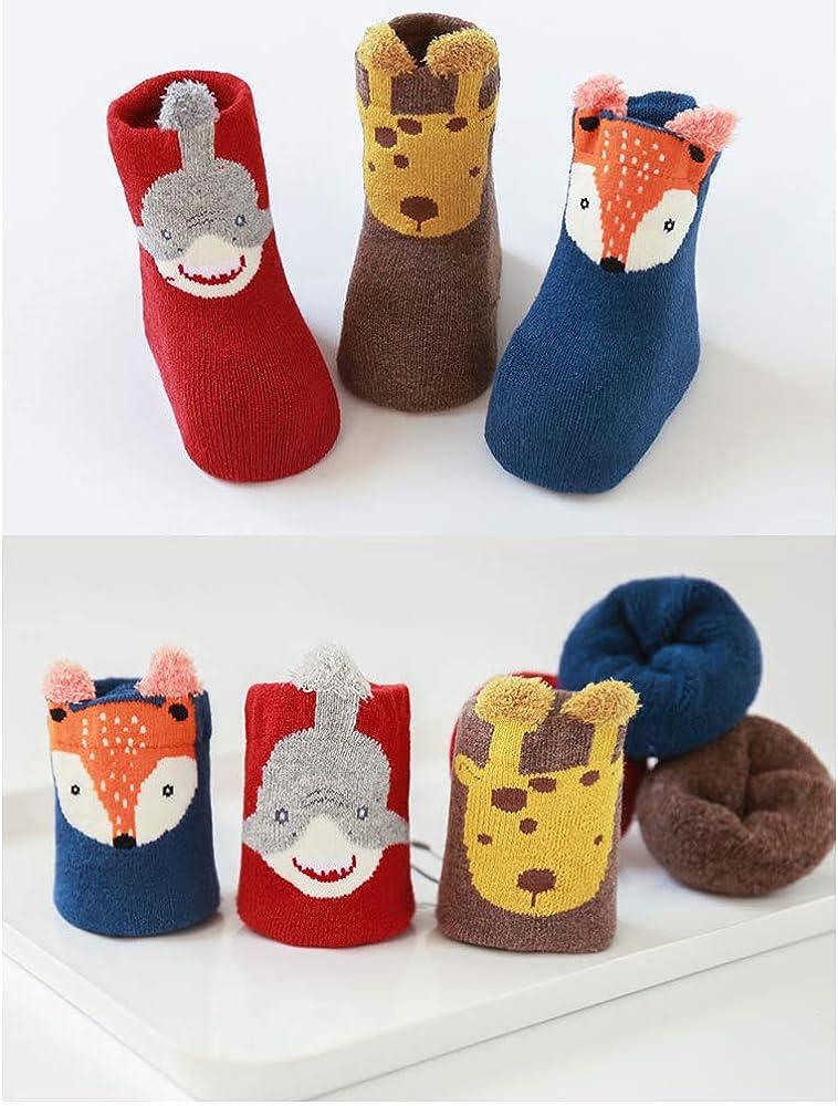 Afocuz 3 Pair Set Baby Thick Socks Boys Girls Stockings Cute Cartoon Animal Cotton Socks for 0-3 Years Newborn Kids,Warm Fluffy Confortable Winter Autum Socks