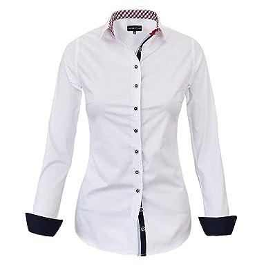 cc7a7e1dacd2 HEVENTON Bluse Damen Langarm in Weiß Hemdbluse - Größe 36 bis 50 - elegant  und hochwertig 1178  Amazon.de  Bekleidung