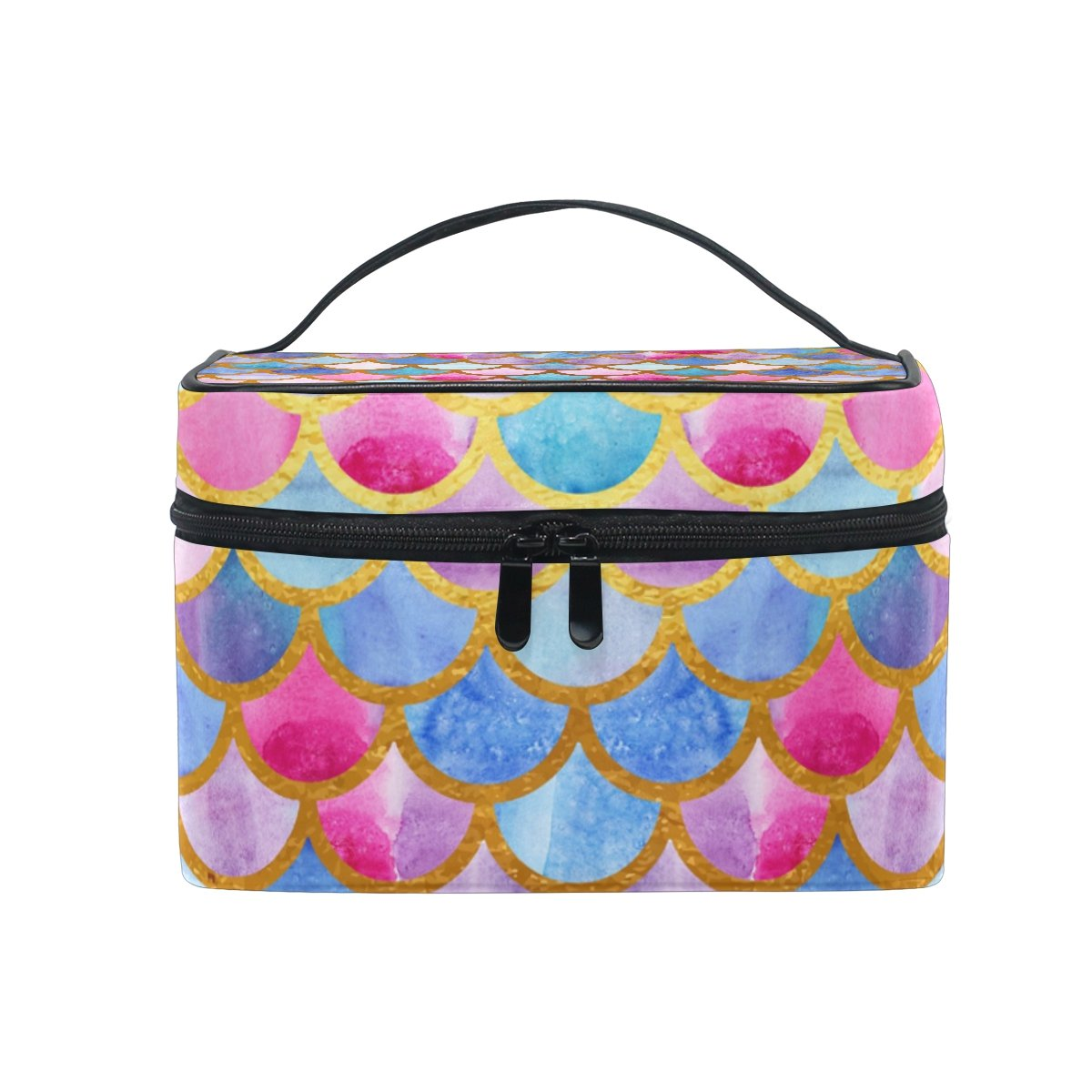 KUWT Bright Watercolor Mermaid Scales Women Travel Cosmetic Bag Portable Makeup Train Case Toiletry Bag Beauty Organizer