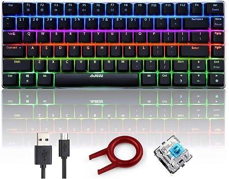 FELiCON AK33 Teclado para Juegos mecánicos, RGB LED Retroiluminado Teclado para Juegos 82 Teclas Anti-Fantasma Metal USB Teclado para Juegos con Cable ...