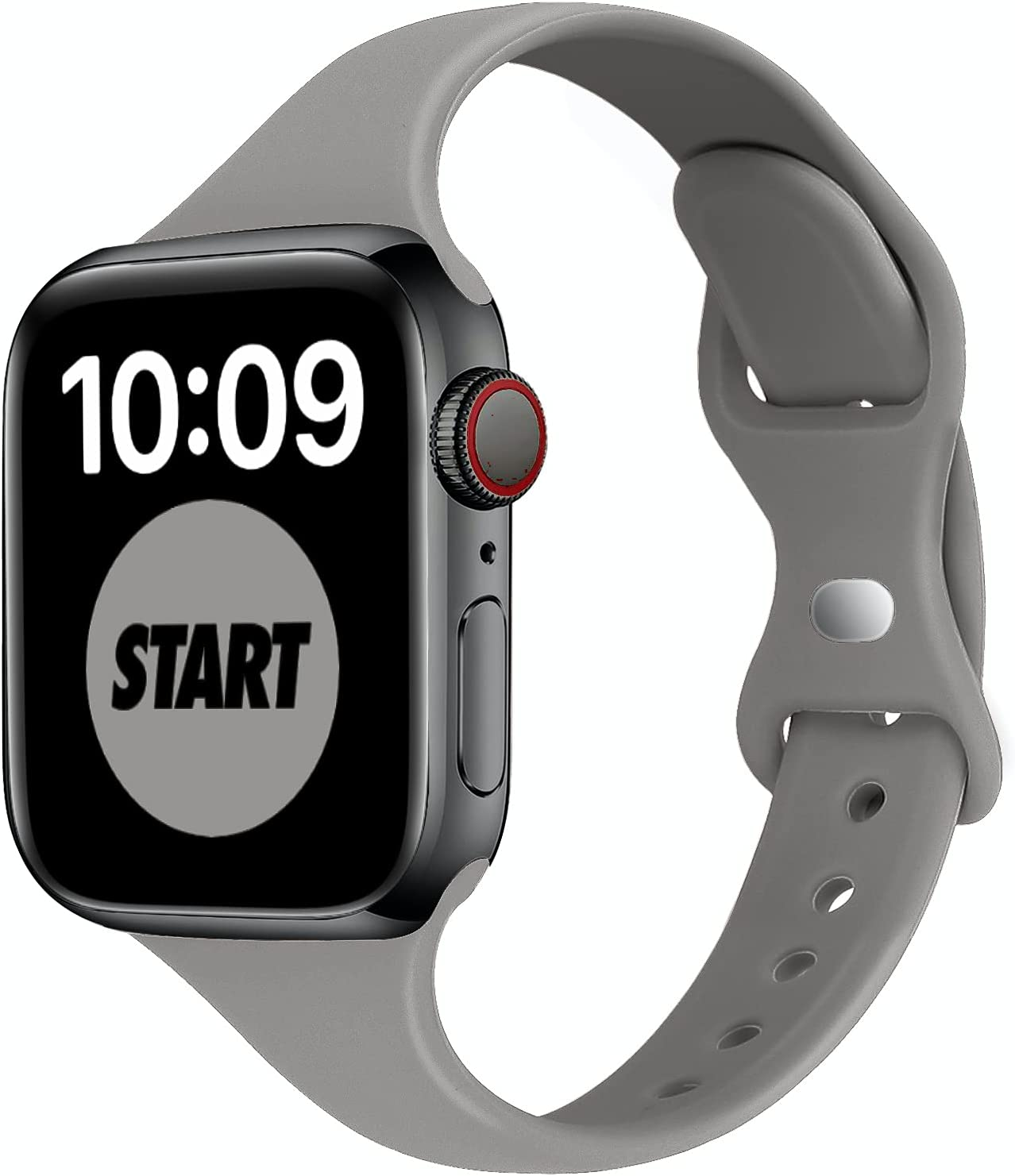 STG Sport Band Compatible with Apple Watch 38mm 40mm 42mm 44mm, Soft Silicone Slim Thin Narrow Replacement Strap Compatible for iWatch SE Series 6/5/4/3/2/1 (Concrete, 38/40mm)