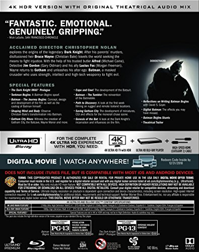 Batman Begins (Ultra HD/BD) [Blu-ray] at Gotham City Store