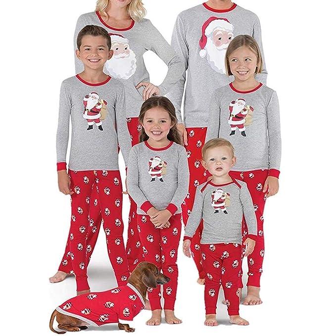 b022ccb404 BaZhaHei-Navidad Pijama Mujer mamá Papá Noel Remata Blusa Pantalones Familia  Pijamas Ropa de Dormir