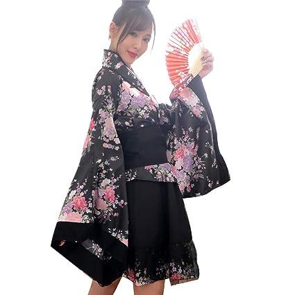 Mujeres Traje de Criada Tradicional Japonesa Kimono Flores de Cerezo Anime Cosplay Lolita Disfraz Ropa Outfit Maid Costume Dress