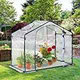 Outsuuny Walk In PVC Greenhouse Garden Outdoor Flower Planter Steel Frame w/Zipped Door 180 x 105 x 150CM