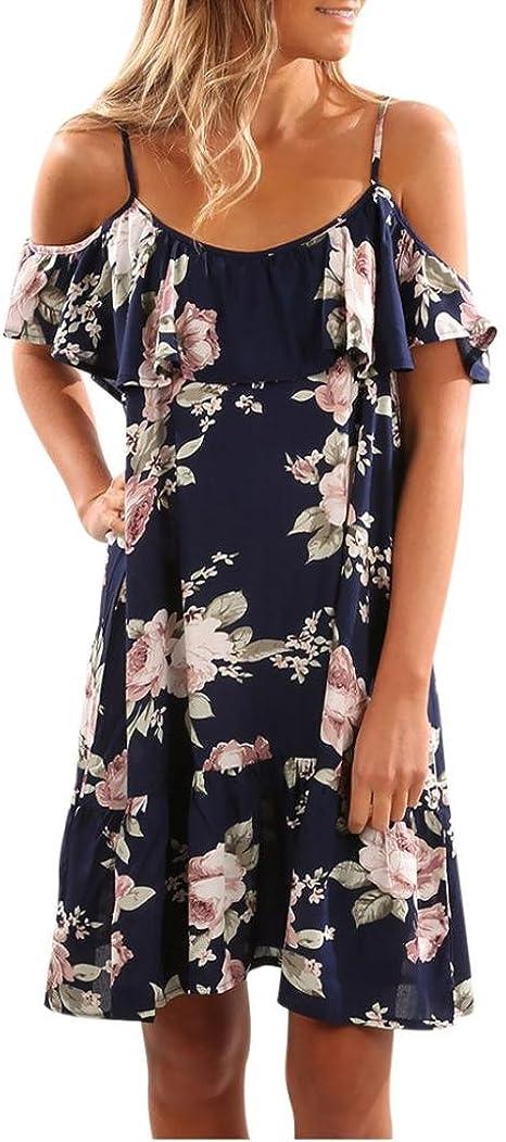 Conqueror mujeres de verano floral Ruffles Dress Off hombro ...