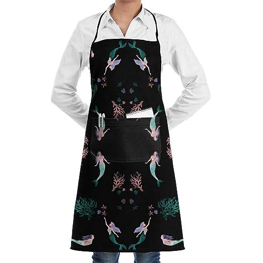 Papel pintado de sirenas de acuarela Delantal de chef de cocina ...