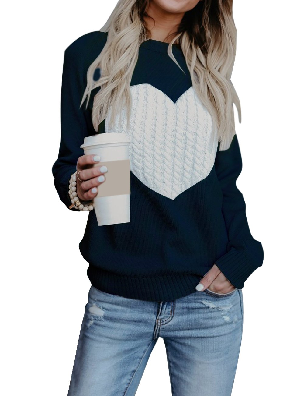 shermie Women's Pullover Sweaters Long Sleeve Crewneck Cute Heart Knitted Black 2XL