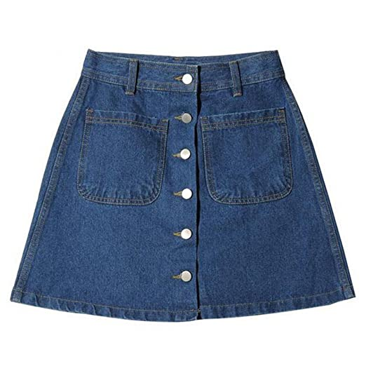 741e0d7b8 Hibote Summer Skirt for Women Sexy Denim A Line Mini Skirt High Waisted  Buttons Slim Fit Spring Casual Pencil Skirts with Pockets: Amazon.co.uk:  Clothing
