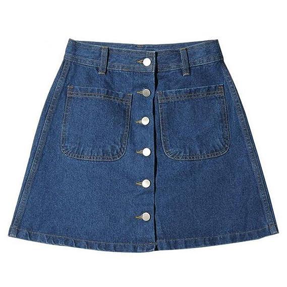 Elegant Rock für Damen Damen Abnehmen Bleistiftröcke Einfarbig Casual A Linie Kurz Skirt Minirock Jeansrock mit Taschen für Frühling Sommer
