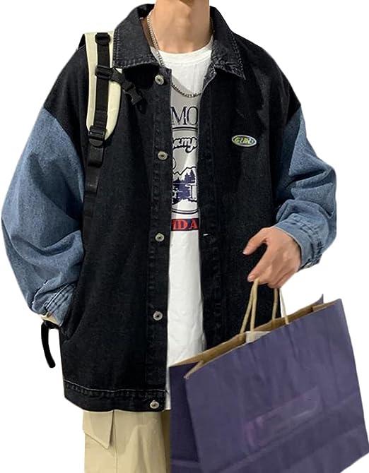 [YYQ-SHOP]ジージャン メンズ デニムジャケット 長袖 切り替え ジャケット デニム アウター ゆったり カジュアル ビッグシルエット おしゃれ 春 オーバーサイズ ストリート系