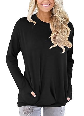 79e57e7f73 HOTAPEI Casual Round Neck Sweatshirt Loose Long Sleeve T Shirt Blouses for  Women Tops Black Small