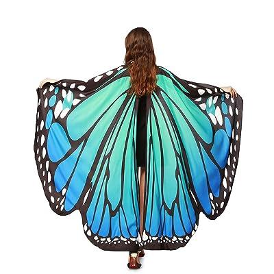 Alas De Mariposa Chal Mariposa Mujer Accesorio Traje Nymph Pixie Cosplay Partido (Azul Verde): Deportes y aire libre