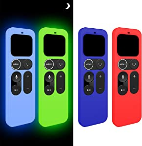 [4 Pcs] Remote Case for Apple TV 4K / 5th 4th Gen Remote, Light Weight [Anti-Slip/Anti-dust/Shockproof] Silicone Cover for Apple Siri Remote Controller