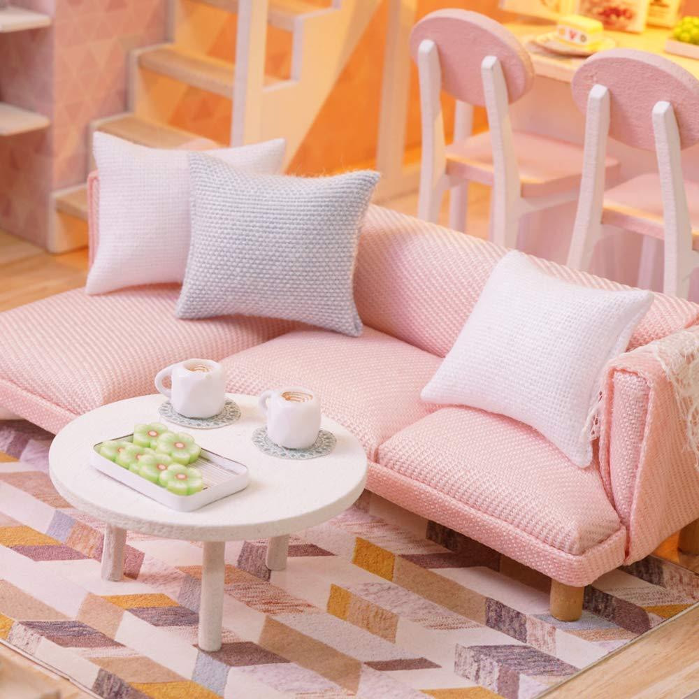 Leslaur Fai da Te Miniature Loft Kit casa delle Bambole Realistico Mini 3D Pink House House in Legno Giocattolo con luci a LED Parapolvere