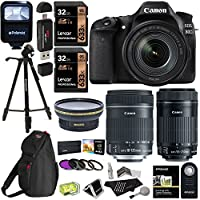 Canon EOS 80D Digital SLR Kit EF-S 18-135mm f/3.5-5.6 Image Stabilization USM & Canon EF-S 55-250mm Lens + Xit XT67WAB 67mm 0.43X Wide Angle Auxiliary Screw On Lens + Memory Cards + Accessory Bundle Basic Facts Review Image