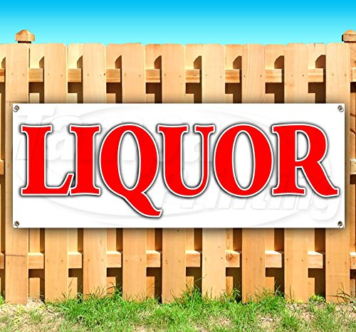 Liquor 13 oz Heavy Duty Vinyl Banner Sign with Metal Grommets, New, Store, Advertising, Flag, (Many Sizes Available) by Tampa Printing