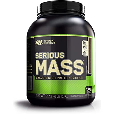 Optimum Nutrition ON Serious Mass proteina en polvo mass gainer alto en proteína, con vitaminas, creatina y glutamina, chocolate, 8 porciones, 2.73 kg