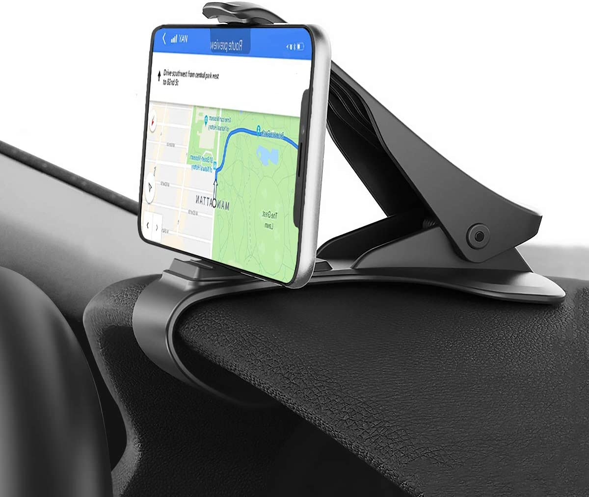 Phone Holder for Car, Hzrfun Cell Phone Holder for Car Dashboard Clip Non-Slip Durable Compatible with iPhone Xs Max/XR/XS/X/8 Plus/8/7 Plus/7 Samsung Galaxy S10/S9/S8 and More