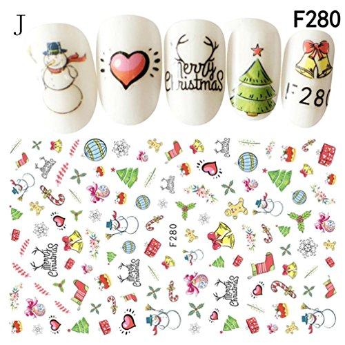 Leewa@ Holiday Themed Christmas 3D Nail Art Stickers - Snowflakes/Snowmen Decal (Christmas Art Nail Decals)