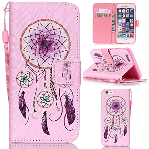"iPhone 6S Plus / iPhone 6 Plus 5.5"" Coque , Apple iPhone 6S Plus / iPhone 6 Plus 5.5"" Coque Lifetrut® [ Rose DreamCatcher ] [Stand Feature] Colorful Case Mignon PU cuir portefeuille en cuir intégré da"
