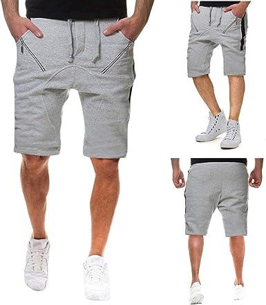 CAOQAO Pantalones Cortos Hombre Bolsillo con Cremallera Algodón Multi-Bolsillo Overol Shorts Moda: Amazon.es: Ropa y accesorios