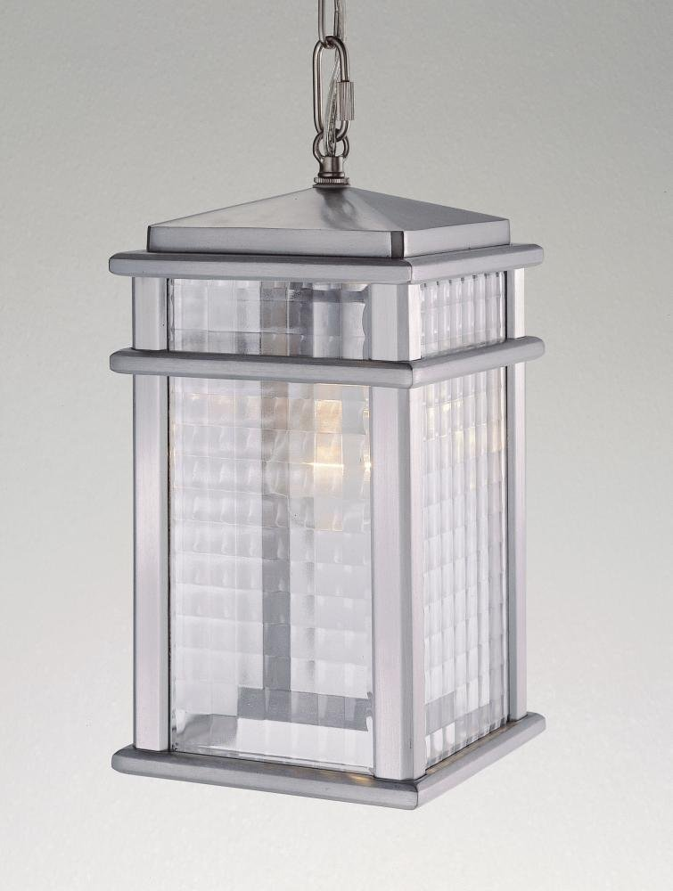 One Light Brushed Aluminum Clear Checked Glass Hanging Lantern OL3411BRAL