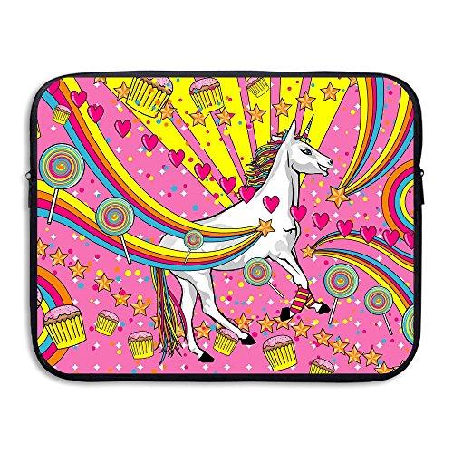 Fonsisi Laptop Storage Bag Unicorn Rainbow Cake Candy Portable Waterproof Laptop Case Briefcase Sleeve Bags -