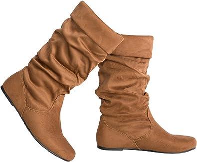 Olivia K Womens Low Heel Mid-Calf