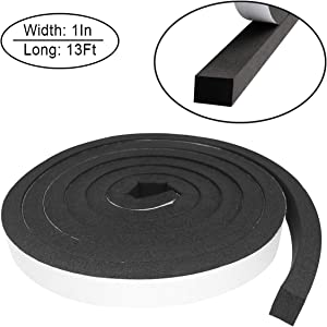 Foam Insulation Tape self Adhesive,Weather Stripping for Doors and Windows,Sound Proof soundproofing Door Seal,Weatherstrip,Cooling, Air Conditioning Seal Strip (1In x 3/4In x 16Ft, Black)