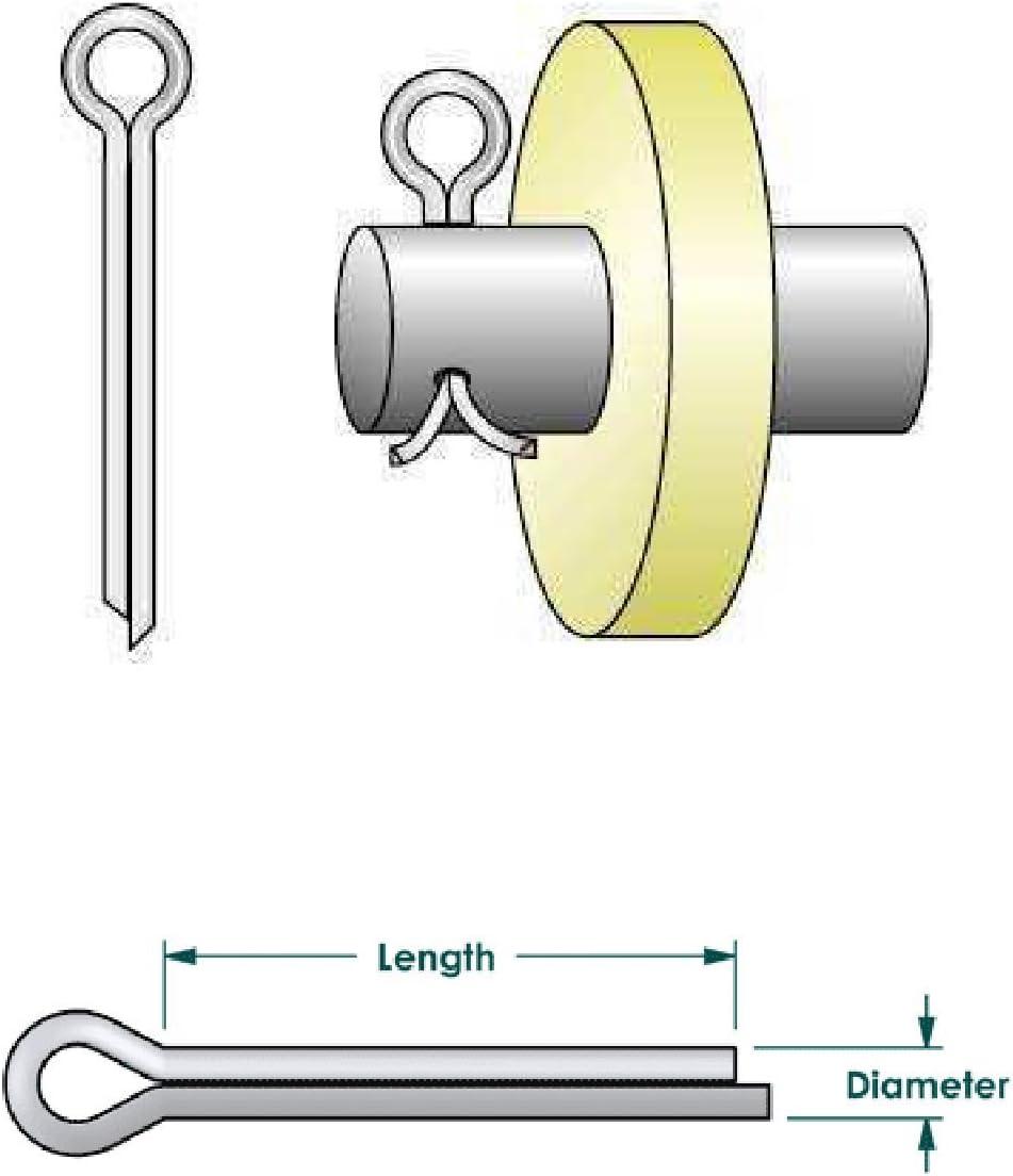 Bright Zinc Plated Retaining Fixings 25 x Split Cotter Pins Metric 3.2 x 58mm