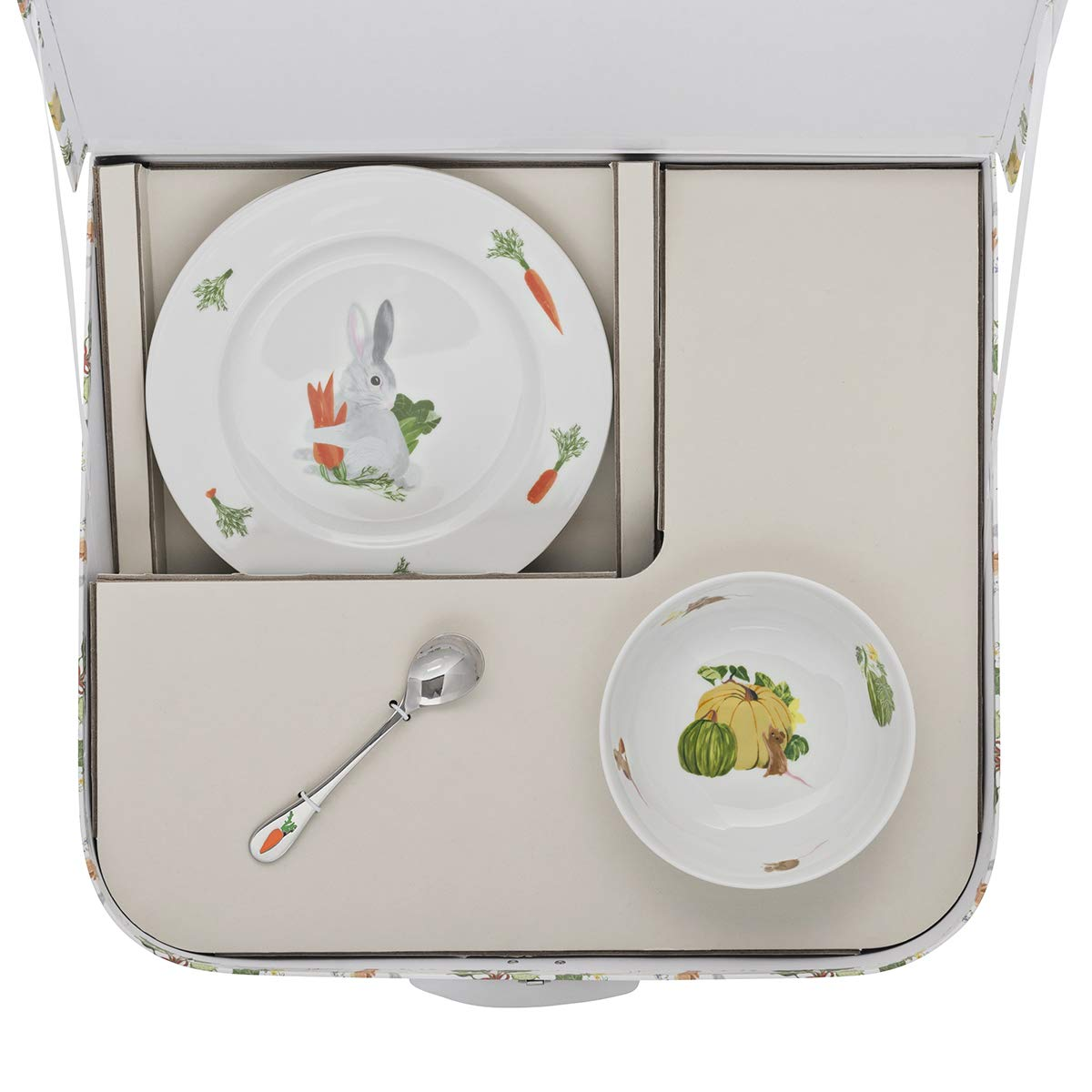 DEGRENNE 231760 Les Amis du Potager Valisette avec coupelle assiette /à dessert cuill/ère /à caf/é Multicolor