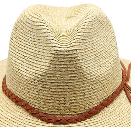 Women's Braid Straw Wide Brim Classic Fedora Sun Hat UPF 50+ with Adjustable Drawstring (F2246, Natural)