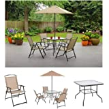 Albany Lane 6-Piece Folding Dining Set By Mainstays, Patio Table, Patio Folding Chair, Patio Umbrella, Patio Dining Set, Outd