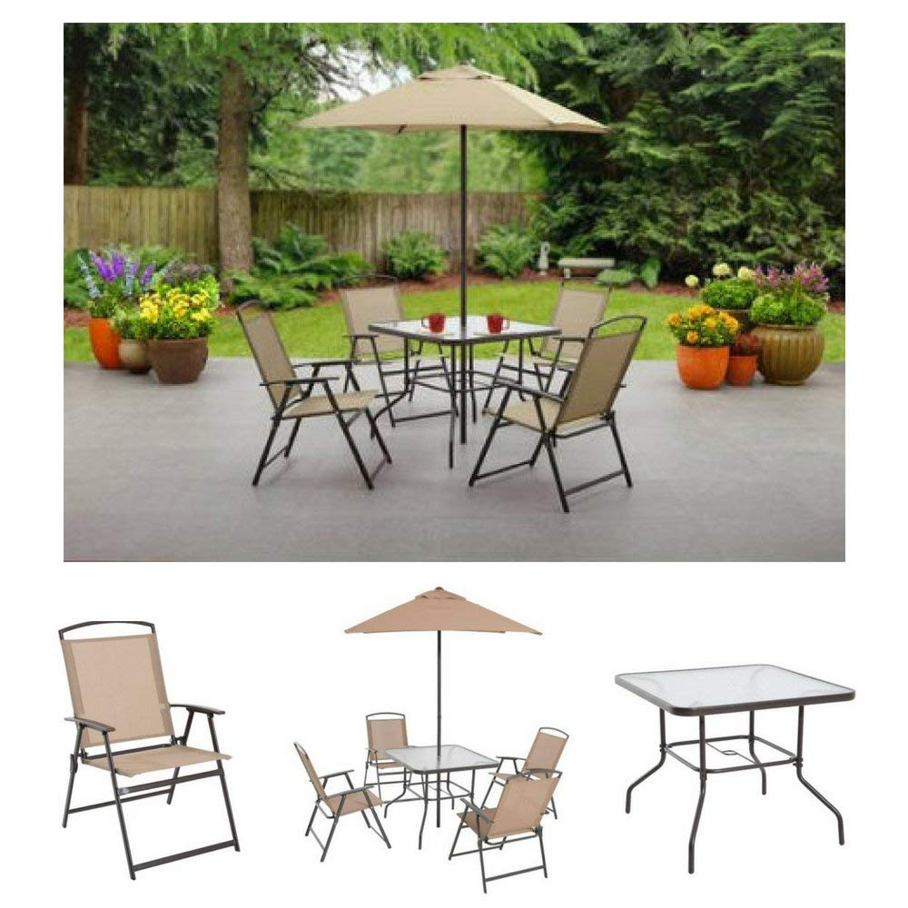 Amazon Com Albany Lane 6 Piece Folding Dining Set By Mainstays Patio Table Patio Folding Chair Patio Umbrella Patio Dining Set Outdoor Decorations Outdoor Dining Set Tan Industrial Scientific