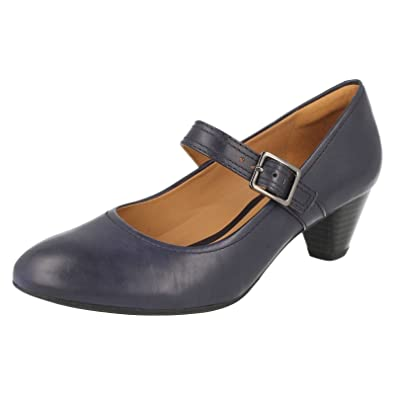 Clarks Womens Smart Clarks Denny Date Leather Shoes In Navy Wide Fit Size  5.5