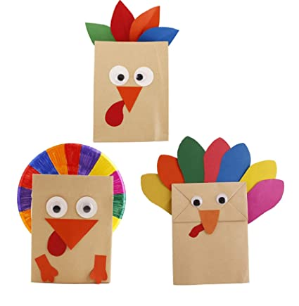 Amazon Com 3pcs Turkey Craft Kit Thanksgiving Diy Paper