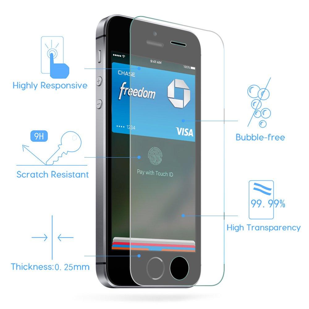 Utmury iPhone se Protector de pantalla, protector de pantalla de vidrio templado premium para Apple Iphone 5/5S/5 C/SE 9H Dureza EASY-INSTALL burbujas (Pack ...