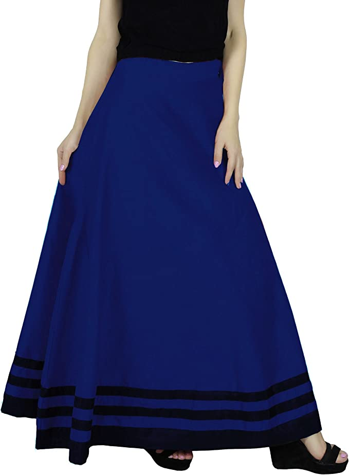 Bimba Women Long Boho Maxi Skirt A-Line Cotton Flared  Skirts With Drawstring