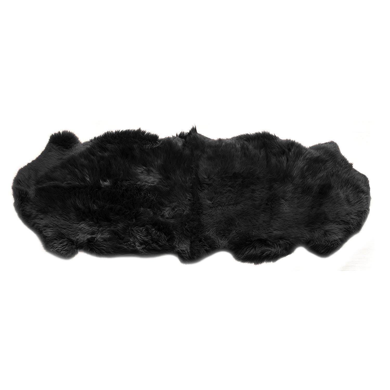 MetU Genuine Sheepskin Rug Soft Faux Double Pelt Black Fur for Home Decor (2' x 6', Black)