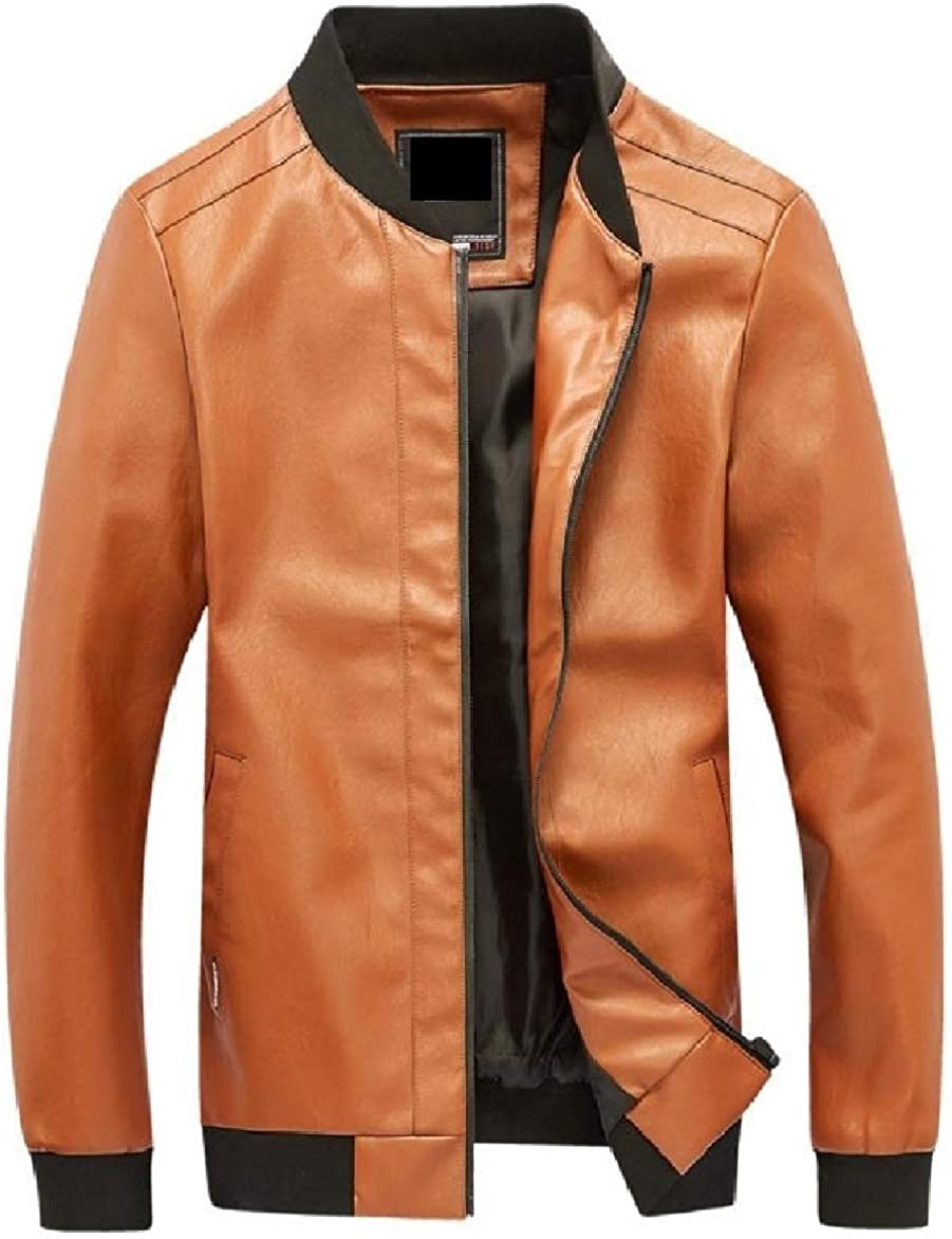 Abetteric Mens Plus Size Luxury Pure Color Bomber Coat Fitted PU Leather Jackets