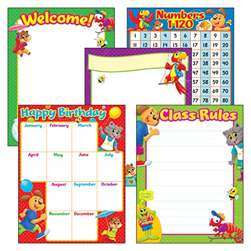 (TREND enterprises, Inc. T-38965 Classroom Basics Playtime Pals Learning Charts Combo Pack, Set of 5)
