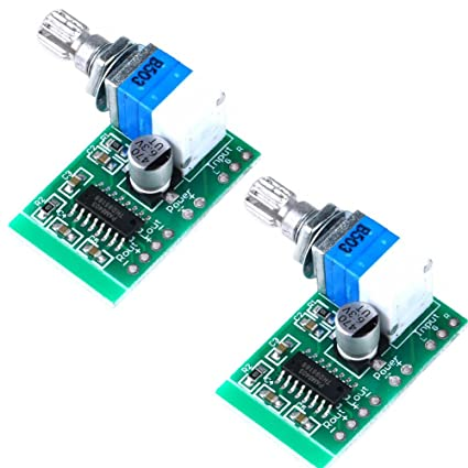Super Mini PAM8403 DC 5V 2 Channel USB Digital Audio Amplifier Board Module  2 3W Volume Control with Potentionmeter Switch Pack of 2