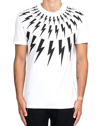 8315124c2 Authentic Neil Barrett Men White/Black Lightning Bolt T Shirt - White -:  Amazon.co.uk: Clothing